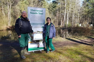 Mike Hill, Senior Conservation Ranger and Sara Sweeney-Lewis, Senior Education Ranger of Center Parcs Sherwood Forest with their Wildlife Guardian certificate.