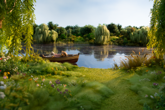 Ratty from The Wind in the Willows lying in a boat an a lake