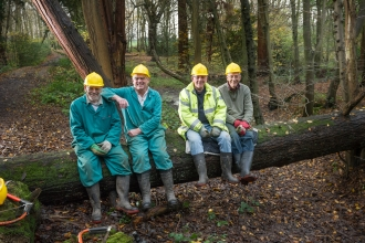Mike, Bernard, John and John sat on a tree with hard hats on