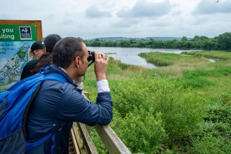 Bird watchers at Attenborough Nature Reserve