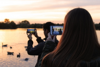 Mobile Phone sunset photography at Attenborough Nature Reserve