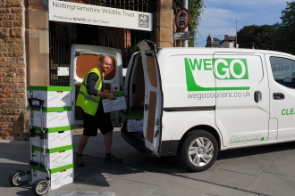 WEGO zero emission van collecting archive boxes from Nottinghamshire Wildlife Trust