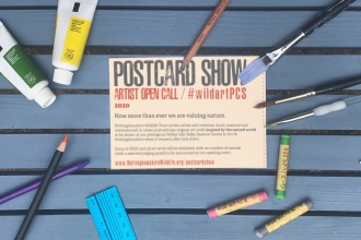Postcard Show Artist Open call flyer surrounded by paintbrushes, pencils and paints