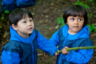Children from Rowley View Nursery School participating in the Moorcroft Environmental Centre Forest School, Moorcroft Wood, Moxley, Walsall, West Midlands, July 2011 -
