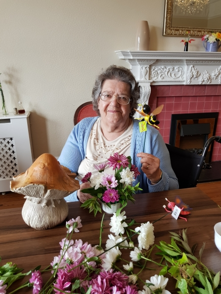 Dulcie and her fairy garden props Langwith Lodge Residential Home