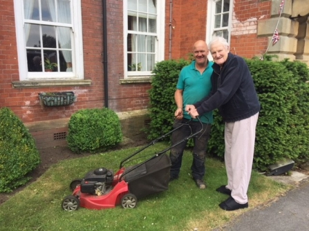 Andy the head gardener of Langwith Lodge Residential Home and resident Jack