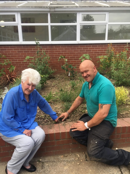 Shelia with Andy the head gardener of Langwith Lodge Residential Home