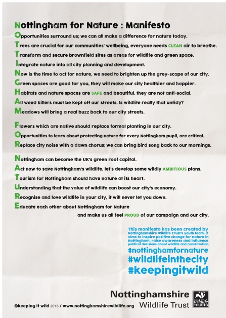 Nottingham for Nature manifesto poster FINAL
