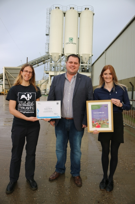 Holly McCain of Nottinghamshire Wildlife Trust presenting the certificates to Paul Pendleton General Manager of Centrum Pile and Jessica Banham Marketing and Communications Manager at AARSLEFF