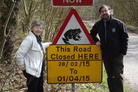 Margaret Cooper with Erin McDaid (Head of Communications and Marketing at Nottinghamshire Wildlife Trust) at Oxton Toad Crossing