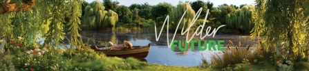 Ratty from The Wind in the Willows lying in a boat an a lake with Wilder Future Logo