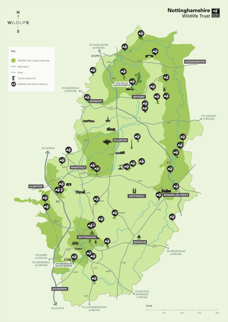 A map of Nottinghamshire Wildlife Trust nature reserve locations.