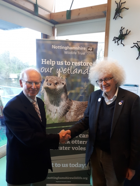 Sir Martyn Poliakoff and Ian Johnston at Attenborough Nature Reserve