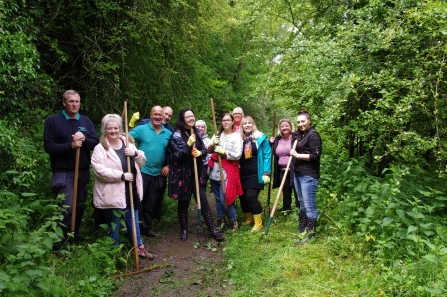 Langwith Lodge Residential Home staff taking part in conservation volunteering at Meden Trail