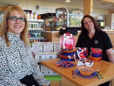Leysa Relf of Mayborn with Sandra Horner of NWT at Idle with Tommee Tippee cutlery