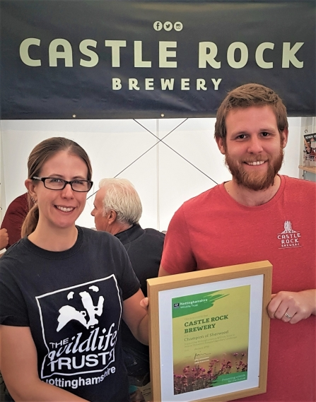 Holly McCain of Nottinghamshire Wildlife Trust with Castle Rock Brewery Head of Marketing Lewis Townsend