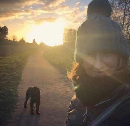 Lucy Briggs with Molly walking at Attenborough Nature Reserve