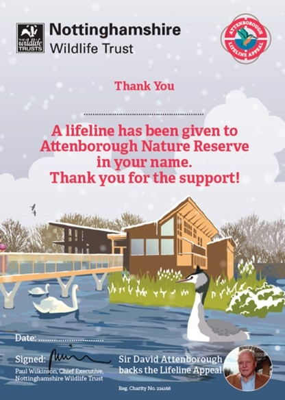Attenborough Nature Reserve Lifeline Appeal gift certificate image