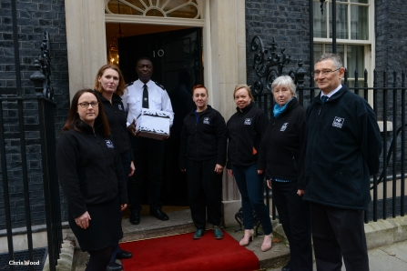 Handing over the letter to Downing Street