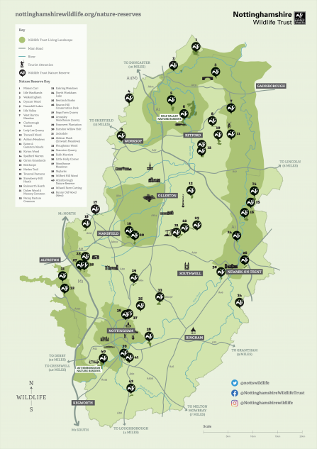 Map of all Nottinghamshire Wildlife Trust Nature Reserves