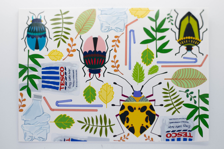 Postcard Show entry Bugs in the Mud. Colourful graphic design featuring beetles, leaves and plants alongside plastic straws, tesco single use carrier bags and plastic bottles.